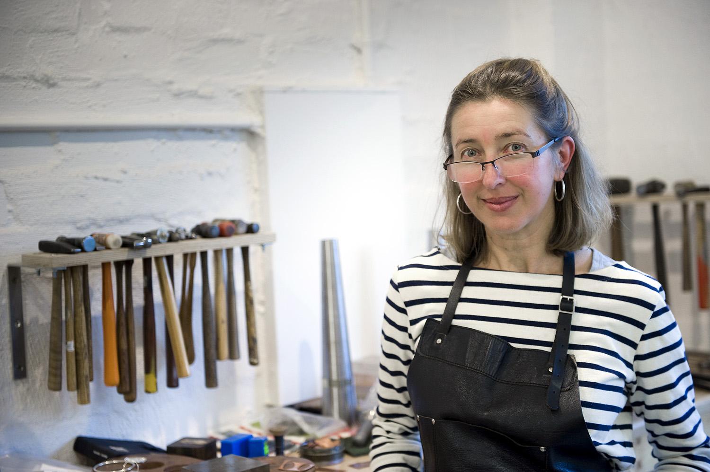 jane ruljancich in her home jewellery studio