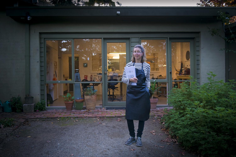 jane ruljancich outside her home jewellery studio